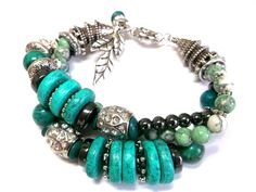 Turquoise Chunky bracelet Multistrand big by Jewelry2Heart on Etsy