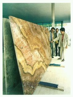 Onix just arrived during the re-constrction of the Barcelona pavilion, may 1986 Barcelona Pavillion, Arch House, Stone Facade, Ludwig Mies Van Der Rohe, Famous Architects, Interesting Buildings, Less Is More, Architectural Elements, Bauhaus