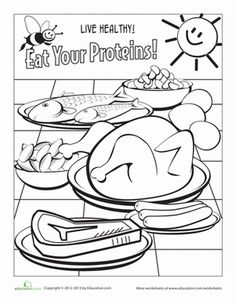 healthy eating coloring page meat and beans