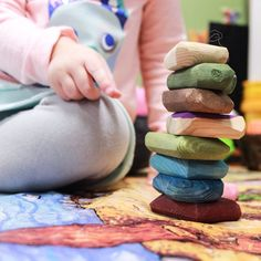 These handmade wooden stones are the BEST! ❤️ ✨⠀ Such a versatile loose part from babies to big kids hands. How many of your children love to stack? Reggio Inspired Classrooms, Reggio Classroom, Fairy Dust Teaching, Bulletin Board Design, Preschool Boards, Block Area, Block Play, Diy For Kids, Big Kids