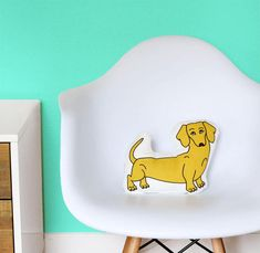 Tan Dachshund Pillow  Medium Size by thepapermamashop on Etsy
