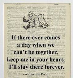 Winnie the Pooh Quote printed on a page from an by LePapierGallery...for baby