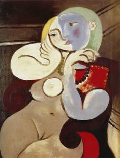 By Pablo Picasso Nude Woman in a Red Armchair, Oil paint on canvas, Tate. A portrait that Picasso made of Marie-Thérèse Walter at his at Boisgeloup. Pablo Picasso, Kunst Picasso, Art Picasso, Picasso Paintings, Portrait Picasso, Red Armchair, Cubist Movement, Art Visage, Georges Braque