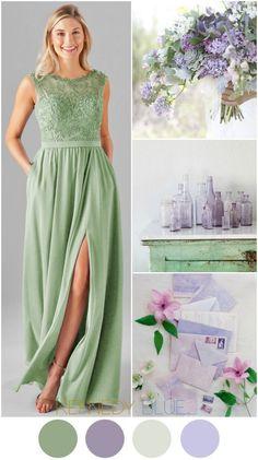 A Sage Green & Lilac Purple wedding color palette   Kennedy Blue Bridesmaid Dress Jade in Sage