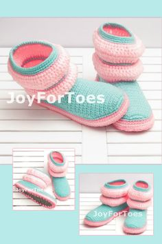 Candy Crochet Shoes, Slippers for the Home, Gifts for her, Homemade Boots, Womens fashion, Mint, Rose, Pink, Pastel, Stripes, JoyForToes by JoyForToes on Etsy https://www.etsy.com/listing/171329555/candy-crochet-shoes-slippers-for-the