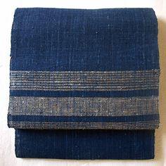 Handwoven Japanese sash for kimono handspun nettle, hand spun hemp vat dye Ryukyu-indigo
