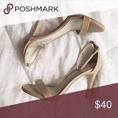 STEVE MADDEN: Nude heels Nude strap heels. Super comfortable. Heel is 3.5. In good condition! Steve Madden Shoes Heels