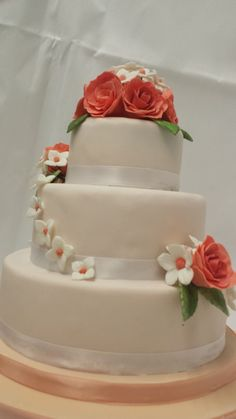 Typical British Cake - Fruit Cake, marzipan and covered in fondant :) with Gum Paste Flowers