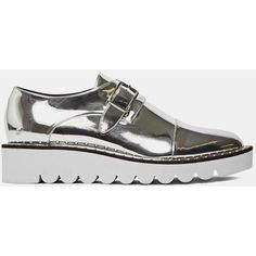 Stella McCartney Pre SS16: Stella McCartney Odette Metallic Brogues ($1,100) ❤ liked on Polyvore featuring shoes, flats, sneakers, metallic, stella mccartney, silver, stella mccartney shoes, brogue shoes, metallic brogues and balmoral shoes