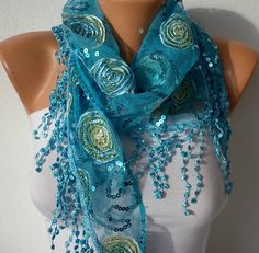 Turquoise Scarf - Headband Necklace Cowl with Lace Edge by Fatwoman, $19.00