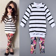 Cute Baby Kids Girls Clothes Stripe T-shirt Tops   Floral Leggings 2pcs Outfit Sets 2016 Fall Winter Children Girls Clothing Set 201509HX