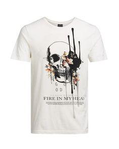 JACK & JONES, white print t-shirt, skull, flowers, fire in my head