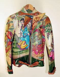 Michael and Hushi - 'The Persian Pioneer' - 2005 (Handpainted Leather Jacket. Courtesy Farhad Moshiri) Hushidar Mortezaie - 'Khorshid Khanoum' (Sun Goddess) - 2012 (Handpainted metal mesh clutch - 5 x...