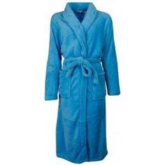 Helderblauwe koudebestendige dames badjas