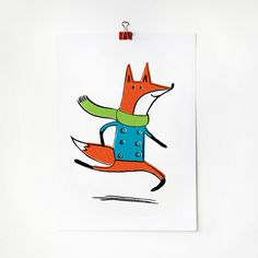 Running Fox Print by Amy Walters #illustration