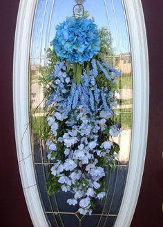 Spring Wreath Summer Wreath Teardrop Door Twig Swag Vertical Decor on Etsy, $65.00