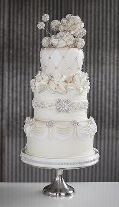 white elegance Cake Decorating: Jeweled Wedding Cake by herminia