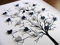 Heart Tree w/ Lovebirds - Wedding. YOUR CHOICE of Colours. Can be Personalized at Bottom - Made to Order 3d Tree, Tree Art, Diy 3d Bild, Paint Chip Art, Craft Projects, Projects To Try, Butterfly Tree, Heart Tree, Ideias Diy
