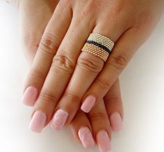Shiny Seed Bead Ring for Women with Rose Gold and Silver