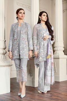 Baroque Embroidered Chiffon Fiona - Luxury Collection, Modern Salwar Kameez, Stitch in two designs, Pakistani Designer wear Pakistani Formal Dresses, Pakistani Outfits, Indian Dresses, Indian Outfits, Kebaya Modern Dress, Kebaya Dress, Hijab Dress Party, Party Wear Dresses, Wedding Dresses
