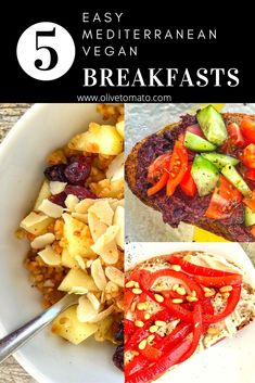 Here are 5 EASY Mediterranean vegan breakfast ideas to start the day with a delicious and satisfying breakfast that will keep you full of energy. #breakfast #Vegan #mediterranean #diet #easy #recipe Mediterranean Diet Breakfast, Easy Mediterranean Diet Recipes, Mediterranean Dishes, Healthy Dishes, Vegan Dishes, Healthy Eating, Healthy Recipes, Greek Diet, Veggie Diet
