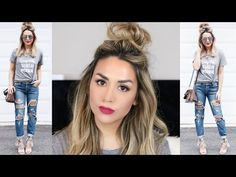 HALF UP TOP KNOT TUTORIAL + CUTE SPRING OUTFIT IDEA - YouTube