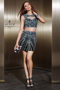 b6887b02a2f3f Alyce Claudine 2488 Sheer Beaded 2pc Cocktail Dress. Two Piece ...
