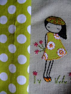 LiliPopo: embroidery - like how the dots on her dress were embroidered. Embroidery Art, Embroidery Applique, Cross Stitch Embroidery, Embroidery Patterns, Machine Embroidery, Stitch Patterns, Thread Painting, Fabric Art, Cross Stitching