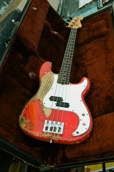 Beat up Fender1960s bass. What stories this bass could tell..