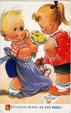"""Let's Have Peace (Bamforth postcard) Comic postcard, """"Let's Have Peace At Any Price"""", published by Bamforth in the """"Taylor Tots"""" series, number K232.   Flickr - Photo Sharing!"""