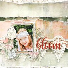 This beautiful layout was made with the Green House Creative Kit by Guest Designer Kylie Kingham. A craft class in a box that gets delivered to your door. Tutorials are included to create lots of scarpbooking layouts and cards. Scrapbook Journal, Scrapbook Page Layouts, Baby Scrapbook, Scrapbook Albums, Scrapbooking Ideas, Craft Cupboard, Smash Book Pages, Gypsy Rose, Creative Colour