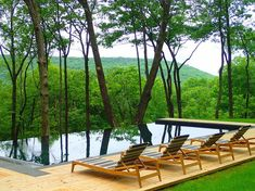 Modern pool and deck overlook mountains and the lush green forest [Design…