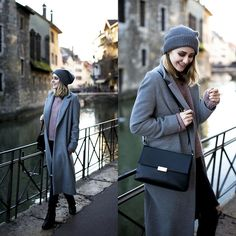 Get this look: http://lb.nu/look/6972678  More looks by TIPHAINE MARIE: http://lb.nu/tiphainemarie  Items in this look:  Coat, Sweater, Boots, Bag, Jeans, Beanie   #retro #romantic #sporty