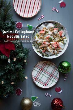 Cellophane noodle (glass noodle) is tossed in tasty surimi, sweet and sour dressing and chopped peanuts will get your taste buds dancing in excitement. Best Christmas Recipes, Christmas Food Gifts, Holiday Side Dishes, Best Side Dishes, Easy Asian Recipes, Thai Recipes, Drink Recipes, Noodle Recipes, Fall Recipes