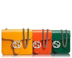gucci interlocking  polished leather shoulder bag