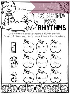 Fall Music Worksheets for Elementary Music Class. Perfect for your sub tub, centers, and more! This set of worksheets is designed help your students practice known rhythmic and melodic concepts with folk songs that are perfect for fall, composition, dictation, finding the correct rhythm and tonal patterns, vocal exploration, color by rhythm and color by dynamics. These would be fun to use during fall in the music room, but many of the pages can be used year round.