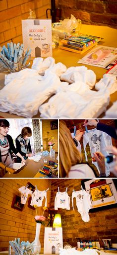 Una idea genial para un baby shower: que los invitados decoren camisetas para el bebé! / A great idea for a baby shower: the guests decorate little t-shirts for the baby!