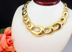 "High End NAPIER Chunky Gold Plated Necklace Graduated Links 16.5""L 78g 1980's #Napier #Link"