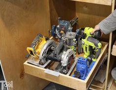 Garage Hand Tool Storage Cabinet Plans - Her Tool Belt Overhead Garage Storage, Garage Tool Storage, Bike Storage, Storage Racks, Shop Storage, Wall Storage, Garage Storage Cabinets, Garage Shelf, Garage Shelving