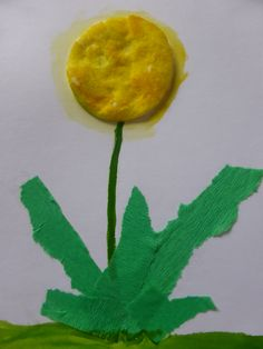 DANDELION  Use: paper, glue, green and yellow watercolours, paintbrush, round cotton wool tampon, green crepe paper. by Jana