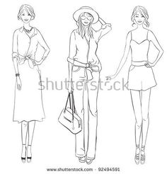 Стоковая иллюстрация «Three Girls Different Garment Fashion Designer Feminized Boys, Architecture People, Different, Fashion Sketches, Projects To Try, Royalty Free Stock Photos, Illustration, Coloring, Fashion Design
