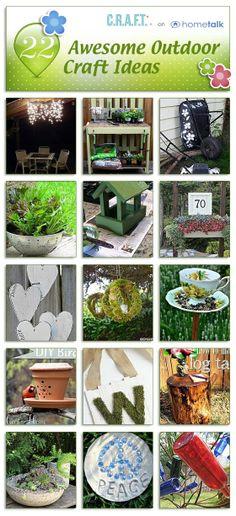 22 awesome garden craft ideas! I really like the wheel barrow and bird feeder!