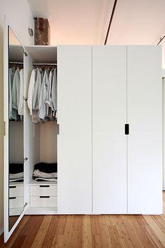 clean and simple design with handy full-length mirror hidden inside the wardrobe door
