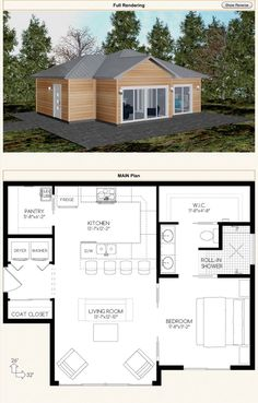 Perfection...add A Gas Fireplace, Build On Top Of A 3 Or · 1 Bedroom House  PlansGuest House PlansGarage Guest HouseOne ...