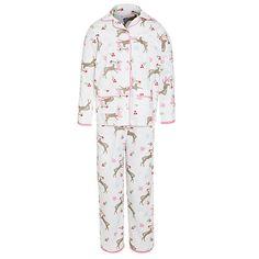 Buy John Lewis Girl Reindeer Pyjamas, Cream Online at johnlewis.com