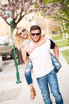Couple. Blonde couple. Cute couple. Fashion couple. Couple in blue. Denim. Good denim. Piggy back.