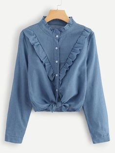 To find out about the Frill Trim Single Breasted Knot Hem Blouse at SHEIN, part of our latest Blouses ready to shop online today! Dressy Tops, Denim Top, Blouse Styles, Blouse Designs, Fall Shirts, Fashion Moda, Curvy Fashion, Mode Style, Blue Blouse