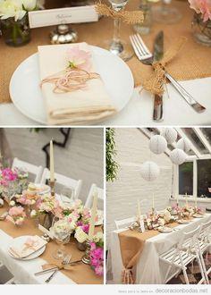 Decoración de boda con detalles en yute, tela arpillera o de saco