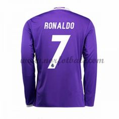 Billige Fotballdrakter Real Madrid 2016-17 Ronaldo 7 Borte Draktsett Langermet Ronaldo Shirt, Cristiano Ronaldo 7, Kobe, Wetsuit, Soccer, Graphic Sweatshirt, Club, Sweatshirts, Swimwear