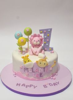 1St Birthday Cake Girl First Birthday Cakes, Birthday Cake Girls, Jungle Birthday Cakes, Jungle Cake, Cookie Pie, Fondant, Wedding Cake Boards, Wedding Cakes, Cupcakes